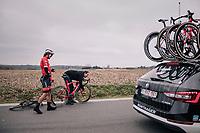 Kiel Reijnen (USA/Trek-Segafredo) needing a new bike (after a crash)<br /> <br /> 61th E3 Harelbeke (1.UWT)<br /> Harelbeke - Harelbeke (206km)