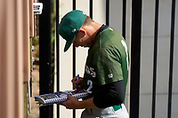 Daytona Tortugas shortstop Gus Steiger (2) signs autographs before a game against the Bradenton Marauders on June 12, 2021 at LECOM Park in Bradenton, Florida.  (Mike Janes/Four Seam Images)