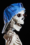 Grinning Skeleton in Head Shot with Hat