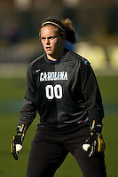 North Carolina Tar Heels goalkeeper Anna Rodenbough (00) during warmups. The North Carolina Tar Heels defeated the Notre Dame Fighting Irish 2-1 during the finals of the NCAA Women's College Cup at Wakemed Soccer Park in Cary, NC, on December 7, 2008. Photo by Howard C. Smith/isiphotos.com
