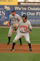 August 18, 2005:  Nick Markakis, with Ryan Zimmerman in the background, of the Bowie BaySox during a game at Metro Bank Park in Harrisburg, PA.  Bowie is the Eastern League Double-A affiliate of the Baltimore Orioles.  Photo by:  Mike Janes/Four Seam Images