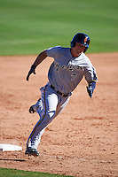 Surprise Saguaros outfielder Brett Phillips (7) running the bases during an Arizona Fall League game against the Glendale Desert Dogs on October 24, 2015 at Camelback Ranch in Glendale, Arizona.  Surprise defeated Glendale 18-3.  (Mike Janes/Four Seam Images)