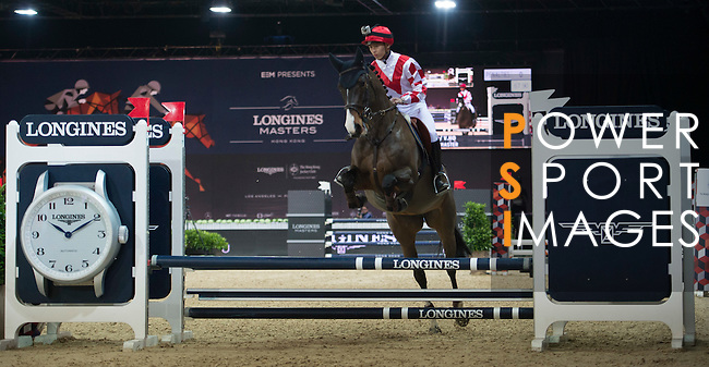 Vincent Ho during the HKJC Race of the Rider during the Longines Masters of Hong Kong on 19 February 2016 at the Asia World Expo in Hong Kong, China. Photo by Li Man Yuen / Power Sport Images