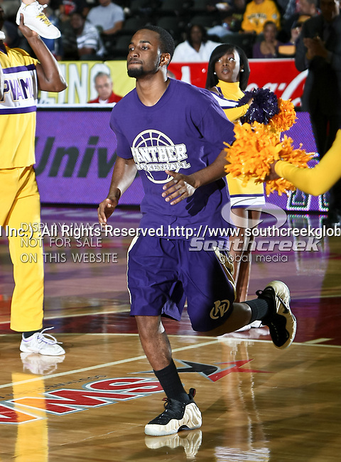 Prairie View A & M Panthers guard Michael Griffin (10) in action during the SWAC Tournament game between the Prairie View A & M Panthers and the Jackson State Tigers at the Special Events Center in Garland, Texas. Jackson State defeats Prairie View A & M 50 to 38.