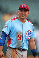 Tennessee Smokies first baseman Anthony Giansanti (9) during a game against the Montgomery Biscuits on May 25, 2015 at Riverwalk Stadium in Montgomery, Alabama.  Tennessee defeated Montgomery 6-3 as the game was called after eight innings due to rain.  (Mike Janes/Four Seam Images)