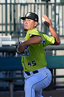 Starting pitcher Jose Butto (45) of the Columbia Fireflies warms up before a game against the Delmarva Shorebirds on Thursday, May 2, 2019, at Segra Park in Columbia, South Carolina. Delmarva won, 1-0. (Tom Priddy/Four Seam Images)