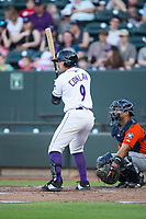 Brady Conlan (9) of the Winston-Salem Dash at bat against the Buies Creek Astros at BB&T Ballpark on April 15, 2017 in Winston-Salem, North Carolina.  The Astros defeated the Dash 13-6.  (Brian Westerholt/Four Seam Images)