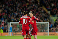 Wednesday 4th  December 2013 Pictured: ( l-r ) Hal Robson-Kanu of Wales  Celebrates with Gareth Bale of Wales <br /> Re: UEFA European Championship Wales v Cyprus at the Cardiff City Stadium, Cardiff, Wales, UK