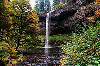 The famous South Falls during the Autumn at Silver Falls State Park in Oregon, USA.