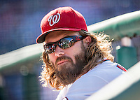 28 August 2016: Washington Nationals outfielder Jayson Werth looks down the dugout during a game against the Colorado Rockies at Nationals Park in Washington, DC. The Rockies defeated the Nationals 5-3 to take the rubber match of their 3-game series. Mandatory Credit: Ed Wolfstein Photo *** RAW (NEF) Image File Available ***