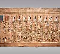 Ancient Egyptian Book of the Dead papyrus - From  tomb of Kha, Theban Tomb 8 , mid-18th dynasty (1550 to 1292 BC), Turin Egyptian Museum.  Grey background