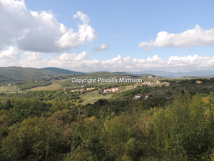 Val d'Arno, Italy - October 2, 2012:  The Tuscan countryside spreads out below.