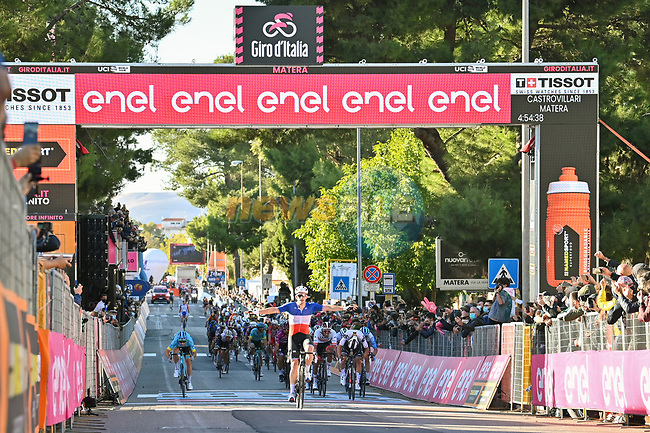 French Champion Arnaud Demare (FRA) Groupama-FDJ wins Stage 6 of the 103rd edition of the Giro d'Italia 2020 running 188km from Castrovillari to Matera, Sicily, Italy. 7th October 2020.  <br /> Picture: LaPresse/Massimo Paolone | Cyclefile<br /> <br /> All photos usage must carry mandatory copyright credit (© Cyclefile | LaPresse/Massimo Paolone)
