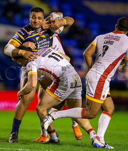 13th November 2020; The Halliwell Jones Stadium, Warrington, Cheshire, England; Betfred Rugby League Playoffs, Catalan Dragons versus Leeds Rhinos; Ava Seumanufagai of Leeds Rhinos is tackled by Matt Whitney of Catalans Dragons