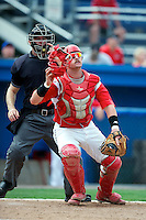 Batavia Muckdogs catcher Jonathan Keener #7 looks for a pop up in front of umpire Brian Peterson during a game against the Brooklyn Cyclones at Dwyer Stadium on July 26, 2012 in Batavia, New York.  (Mike Janes/Four Seam Images)