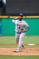 St. Lucie Mets pitcher Junior Santos (16) during a game against the Clearwater Threshers on July 1, 2021 at BayCare Ballpark in Clearwater, Florida.  (Mike Janes/Four Seam Images)
