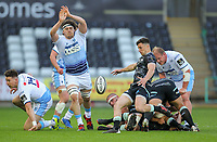 24th April 2021; Liberty Stadium, Swansea, Glamorgan, Wales; Rainbow Cup Rugby, Ospreys versus Cardiff Blues; Matthew Aubrey of Ospreys clears the ball while under pressure from Ben Murphy of Cardiff Blues