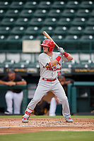 Palm Beach Cardinals Nick Dunn (12) at bat during a Florida State League game against the Bradenton Marauders on May 10, 2019 at LECOM Park in Bradenton, Florida.  Bradenton defeated Palm Beach 5-1.  (Mike Janes/Four Seam Images)