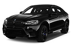 2018 BMW X6M Black Fire 5 Door SUV angular front stock photos of front three quarter view