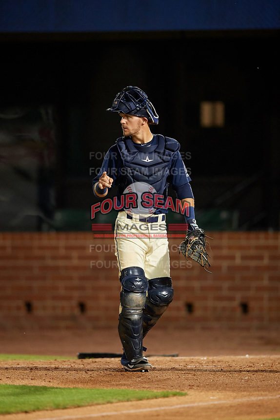 Mobile BayBears catcher Jack Kruger (10) during a Southern League game against the Jacksonville Jumbo Shrimp on May 7, 2019 at Hank Aaron Stadium in Mobile, Alabama.  Mobile defeated Jacksonville 2-0.  (Mike Janes/Four Seam Images)