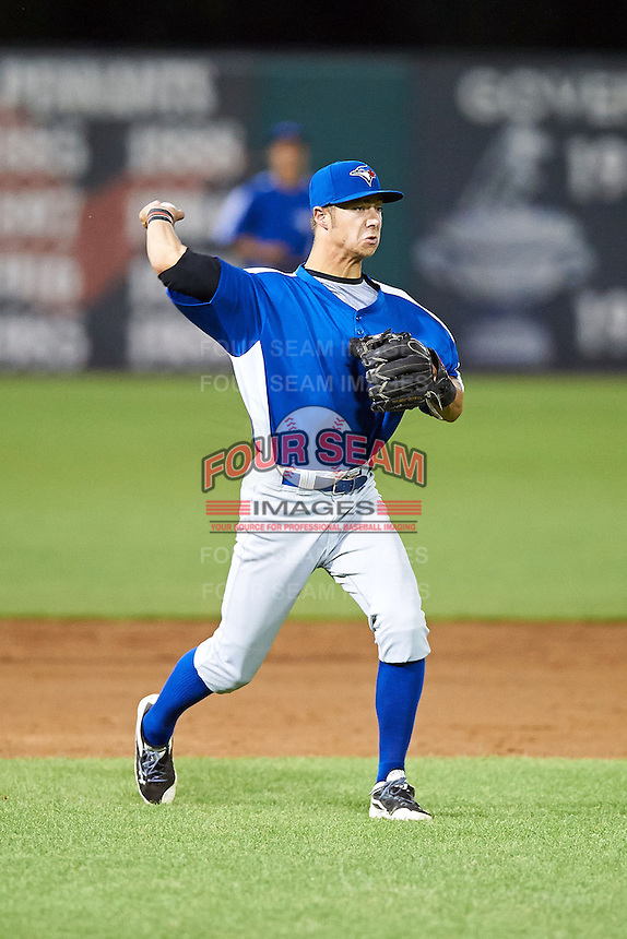 Wes Wilson #26 of Wesleyan Christian Academy in High Point, North Carolina playing for the Toronto Blue Jays scout team during the East Coast Pro Showcase at Alliance Bank Stadium on August 2, 2012 in Syracuse, New York.  (Mike Janes/Four Seam Images)