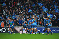 Fans celebrate as the Blues score the decisive late try to win the Super Rugby Tran-Tasman final between the Blues and Highlanders at Eden Park in Auckland, New Zealand on Saturday, 19 June 2021. Photo: Dave Lintott / lintottphoto.co.nz