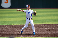 Duke Blue Devils third baseman Erikson Nichols (42) on defense against the Liberty Flames in NCAA Regional play on Robert M. Lindsay Field at Lindsey Nelson Stadium on June 4, 2021, in Knoxville, Tennessee. (Danny Parker/Four Seam Images)