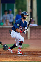 Elizabethton Twins center fielder DaShawn Keirsey (8) follows through on a swing during a game against the Bristol Pirates on July 28, 2018 at Joe O'Brien Field in Elizabethton, Tennessee.  Elizabethton defeated Bristol 5-0.  (Mike Janes/Four Seam Images)