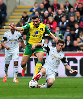 Swansea v Norwich, Liberty Stadium, Saturday 29th march 2014...<br /> <br /> <br /> Swansea's Ben Davies making a challenge