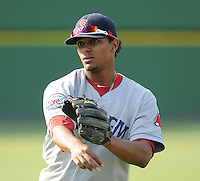 Infielder Xander Bogaerts (23) of the Salem Red Sox, a Boston Red Sox affiliate, before a game against the Potomac Nationals on June 8, 2012, at Pfitzner Stadium in Woodbridge, Virginia. Potomac won the first game of a doubleheader, 5-4. Bogaerts is the No. 2 Boston prospect, according to Baseball America. (Tom Priddy/Four Seam Images)