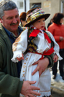 Hungarian wearing Sokácok costumes on the Tuesday procession of the Busojaras Spring  festival 2010 Mohacs Hungary - Stock photos