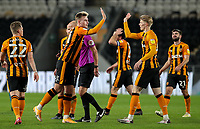 Hull City's James Scott celebrates scoring his side's third goal with Max Sheaf<br /> <br /> Photographer Alex Dodd/CameraSport<br /> <br /> EFL Papa John's Trophy - Northern Section - Group H - Hull City v Grimsby Town - Tuesday 17th November 2020 - KCOM Stadium - Kingston upon Hull<br />  <br /> World Copyright © 2020 CameraSport. All rights reserved. 43 Linden Ave. Countesthorpe. Leicester. England. LE8 5PG - Tel: +44 (0) 116 277 4147 - admin@camerasport.com - www.camerasport.com