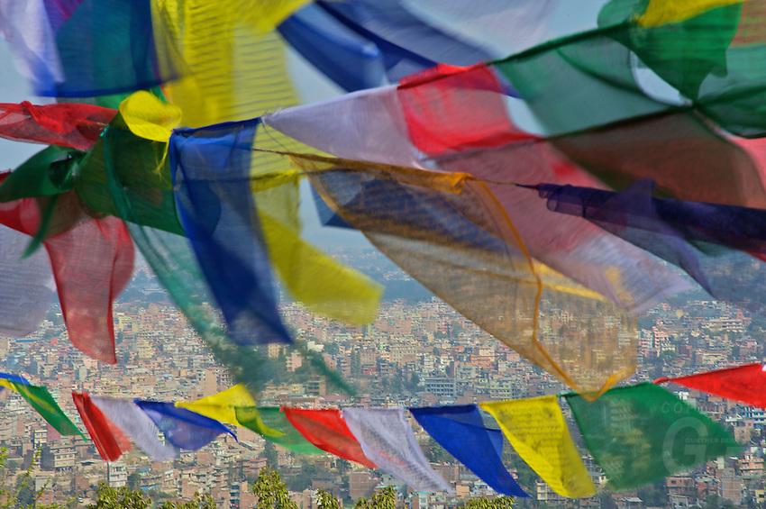 Prayer Flags and view at Kathmandu from the Pasuati Nath Monkey Temple,Kathmandu Nepal