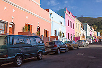 South Africa, Cape Town, Bo-kaap.  Multicolored Houses on Dorp Street.