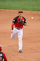 Team USA second baseman Trevor Story (4) throws to first base during the MLB All-Star Futures Game on July 12, 2015 at Great American Ball Park in Cincinnati, Ohio.  (Mike Janes/Four Seam Images)