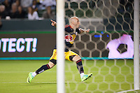 CARSON, CA - November 3, 2011: NY Red Bull forward Luke Rodgers (9) celebrates his goal during the match between LA Galaxy and NY Red Bulls at the Home Depot Center in Carson, California. Final score LA Galaxy 2, NY Red Bulls 1.