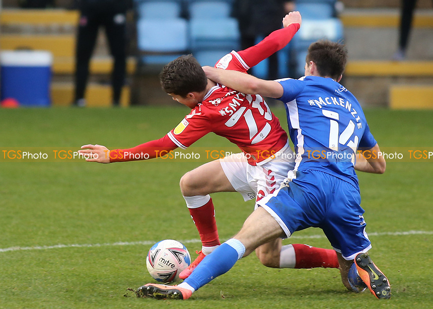 Rob McKenzie of Gillingham uses his arm to foul Charlton's Paul Smyth during Gillingham vs Charlton Athletic, Sky Bet EFL League 1 Football at the MEMS Priestfield Stadium on 21st November 2020