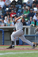 John Riley (25) of the Salem-Keizer Volcanoes bats during a game against the Hillsboro Hops at Ron Tonkin Field on July 26, 2015 in Hillsboro, Oregon. Hillsboro defeated Salem-Keizer, 4-3. (Larry Goren/Four Seam Images)