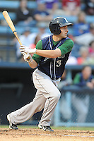 Lexington Legends designated hitter John Hinson #3 swings at a pitch during a game against the Asheville Tourists at McCormick Field on May 7, 2012 in Asheville, North Carolina . The Tourists defeated the Legends 4-3. (Tony Farlow/Four Seam Images).