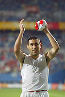 Claudio Reyna applauds the crowd and making it to the Round of 16. The USA lost 3-1 against Poland in the FIFA World Cup 2002 in Korea on June 14, 2002.