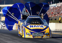 Oct 5, 2013; Mohnton, PA, USA; NHRA funny car driver Ron Capps during qualifying for the Auto Plus Nationals at Maple Grove Raceway. Mandatory Credit: Mark J. Rebilas-