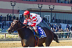 APRIL 06, 2019 : Mind Control, ridden by John Velazquez, wins the Bay Shore Stakes for 3-year olds at Aqueduct Racetrack, on April 06, 2019 in Ozone Park, NY. Dan Heary/ESW/CSM
