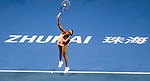 Sloane Stephens of United Sates serves during the singles Round Robin match of the WTA Elite Trophy Zhuhai 2017 against Barbora Strycova of Czech Republic at Hengqin Tennis Center on November  03, 2017 in Zhuhai, China.  Photo by Yu Chun Christopher Wong / Power Sport Images