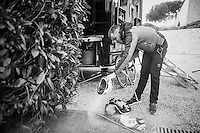 After a wet & muddy race Markel Irizar (ESP/Trek-Segafredo) prefers for a power wash to get his clothes & gear clean again<br /> <br /> 11th Strade Bianche 2017