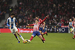 Atletico de Madrid's Santiago Arias and RCD Espanyol's Didac Vila during La Liga match between Atletico de Madrid and RCD Espanyol at Wanda Metropolitano Stadium in Madrid, Spain. December 22, 2018. (ALTERPHOTOS/A. Perez Meca)