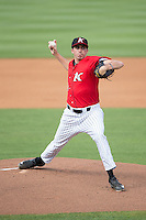Kannapolis Intimidators starting pitcher Zach Thompson (40) in action against the Delmarva Shorebirds at CMC-Northeast Stadium on June 7, 2015 in Kannapolis, North Carolina.  The Shorebirds defeated the Intimidators 9-1.  (Brian Westerholt/Four Seam Images)