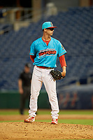 Clearwater Beach Dogs relief pitcher Austin Ross (8) during a Florida State League game against the Charlotte Stone Crabs on July 26, 2019 at Spectrum Field in Clearwater, Florida.  Clearwater defeated Charlotte 6-5.  (Mike Janes/Four Seam Images)