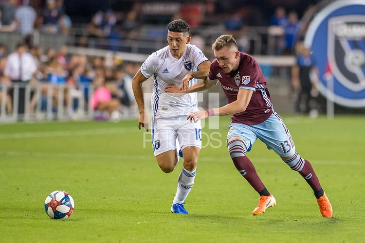 SAN JOSÉ CA - JULY 27: Cristian Espinoza #10 and Sam Vines #13 during a Major League Soccer (MLS) match between the San Jose Earthquakes and the Colorado Rapids on July 27, 2019 at Avaya Stadium in San José, California.