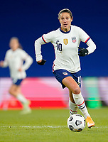 LE HAVRE, FRANCE - APRIL 13: Carli Lloyd #10 of the United States with her eyes on the prize during a game between France and USWNT at Stade Oceane on April 13, 2021 in Le Havre, France.