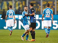 Calcio, Serie A: Inter - Napoli, Milano, stadio Giuseppe Meazza (San Siro), 11 marzo 2018.<br /> Napoli's Lorenzo Insigne (l) greets Inter's Eder (r) at the end of the Italian Serie A football match between Inter Milan and Napoli at Giuseppe Meazza (San Siro) stadium, March 11, 2018.<br /> Inter Milan and Napoli drawns 0-0.<br /> UPDATE IMAGES PRESS/Isabella Bonotto